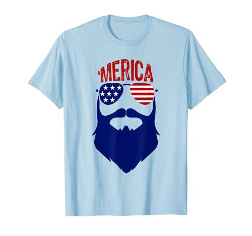 'Merica - Gafas de sol con diseño de estrellas, color rojo, blanco y azul Camiseta