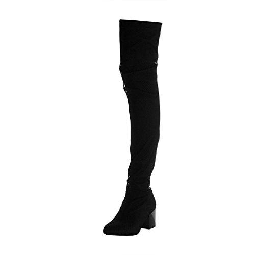 Angkorly - Zapatillas Moda Botas Altas Botas Flexible Slip-on Sexy Mujer Fishnet Tacón Ancho Alto 6.5 CM - Negro B7693 T 40