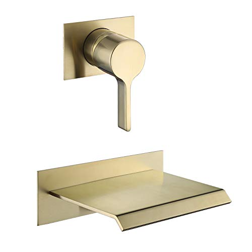 sumerain Wall Mount Tub Faucet Brushed Brass with Waterfall Tub Spout and Rough in Valve, High Flow