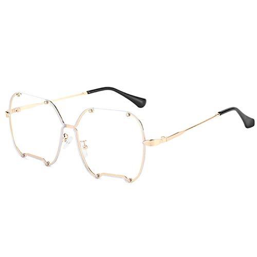 Gafas De Sol Hombre Mujeres Ciclismo Gafas De Sol Irregulares De Metal para Hombre Y Mujer, Gafas De Sol Graduadas A La Moda para Mujer, Gafas Vintage Gris Rosa, Transparente