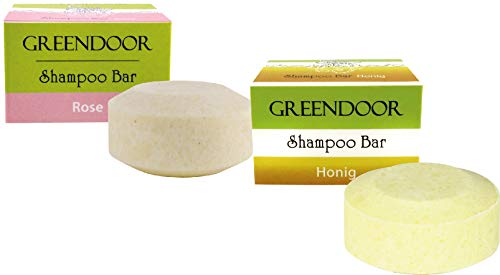 Spar-Set Greendoor Shampoo Bar HARMONY, Honig und Rose 2 x 75g, festes Haarshampoo ohne Sulfate, Naturkosmetik Bio Brokkolisamenöl, Aloe Vera, Natur solid Shampoo, natürliche Haar-pflege Haare