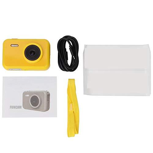 Ladieshow Cámara Digital para niños, cámara de Juguete para niños con Pantalla IPS de 2 Pulgadas, videocámara Segura Linda para niños con batería(Amarillo)