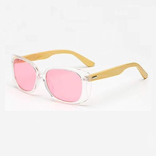 SHEANAON Gafas de Sol de bambú de Madera para Hombres y Mujeres con Espejo UV400, Gafas de Sol para Exteriores, Gafas de Sol para Hombre