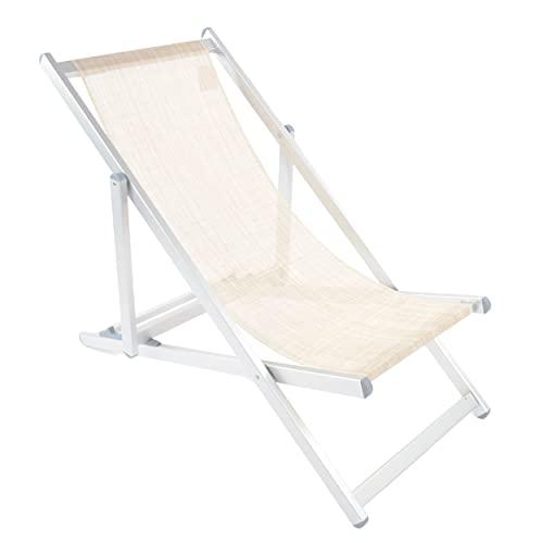 Shopyx sdraio da spiaggia reclinabile 3 posizioni 107x52 h 85 da piscina, campeggio, giardino in alluminio leggero e textilene. (Chiaro)