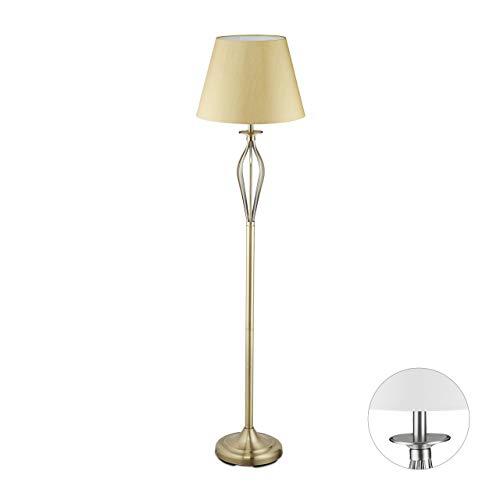 Relaxdays Schirmlampe, dekorative Stehlampe mit Schalter, antikes Design, E27-Fassung, Dekolampe, HD: 158 x 39 cm, gold
