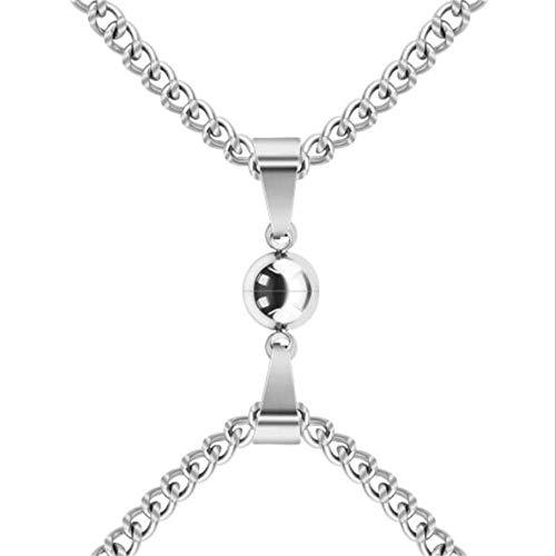Regalo de moda para pareja de amigos Collar de San Valentín Regalos en forma de O Collar de acero inoxidable con imán de cuentas (estilo A)