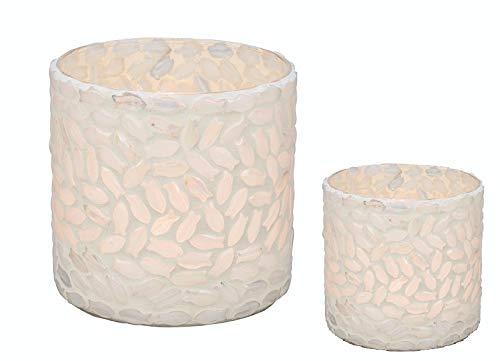 Unbekannt Lot de 2 photophores en mosaïque Blanc Décoration de Table Mariage Anniversaire Bougie Bougie Bougie Bougie Bougie Thé Confirmation, Communion & baptême