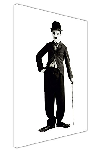 CANVAS IT UP Iconic Charlie Chaplin Poster Auf Rahmen Leinwand Wand Art Prints Schwarz und Weiß Bilder Größe: 101,6x 76,2cm (101x 76cm)