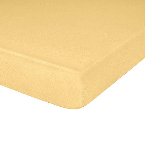"""IDEAhome Jersey Knit Fitted Cot Sheet, Soft Material, Suitable for Bunk Beds, Camping, RVs, Folding Beds, Boys & Girls, 75"""" x 33"""" with 8"""" Pocket, Yellow, 1 Pack"""