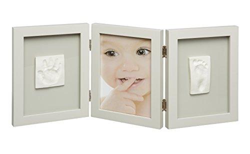 My Sweet Memories, driedelige fotolijst met gipsafdruk en foto voor babyvoetafdruk of handdruk, taupe