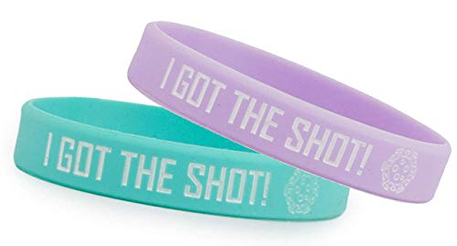 Grand Parfums I GOT The Shot, COVID-19 Vaccinated Set of 1 Seafoam & 1 Lavender Stretch Bracelets Colorful Non-Toxic Silcone Wristband One-Size Fits Adults, Vaccination Identification Support