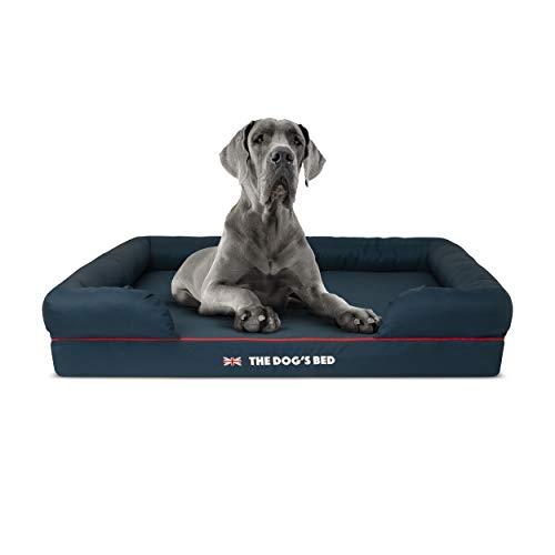 Cama ortopédica para perro The Dog's Bed Heritage Collection XL azul/rojo impermeable espuma viscoelástica para perro cama