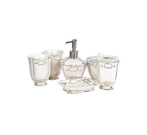Dispensador de loción Baño de 6 piezas de cerámica Suministros baño set de lavado bandeja cepillado baño de cerámica Set de accesorios del estreno de regalo de boda Bomba de jabón líquido para manos