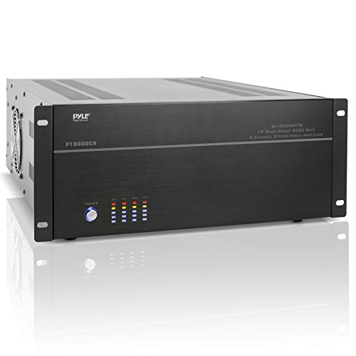 "4 Multi-Zone Stereo Amplifier - 19"" Rack Mount, Powerful 8000 Watts with Speaker Selector Volume Control & LED Audio Level Display - 4-Ch. Bridgeable Switches - Pyle PT8000CH"