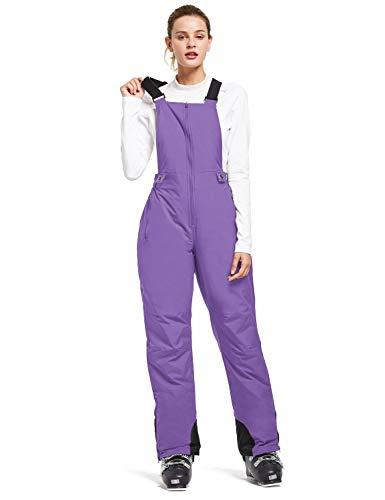 BALEAF Women's Insulated Waterproof Ski Bib Overalls Snow Windproof Snowboarding Pant Purple Size S