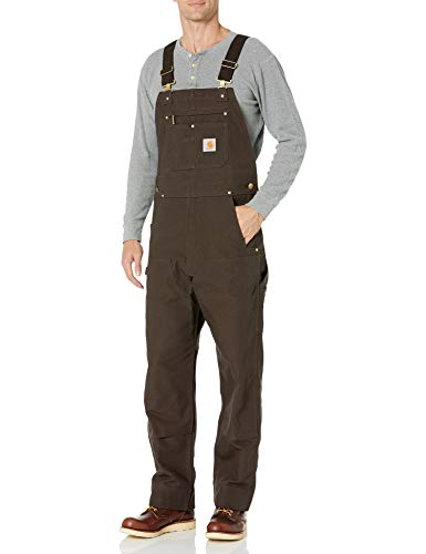 Carhartt Men's Relaxed Fit Duck Bib Overall, Dark Brown, 38 x 32
