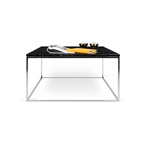 Paris Prix - Temahome - Table Basse Gleam 75cm Marbre Noir & Métal Chromé