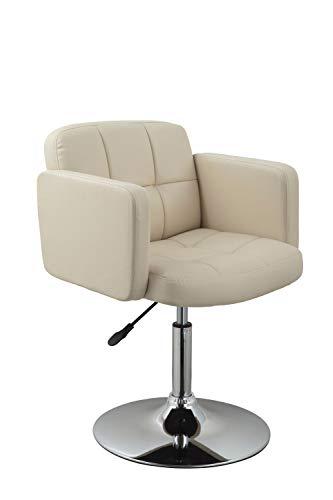 Clubsessel Sessel Kunstleder Creme Esszimmerstuhl Lounge Sessel höhenverstellbar drehbar Duhome 0493