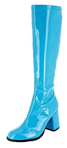 Das Kostümland Gogo Damen Retro Lackstiefel - Türkis Gr. 40 - Tolle Schuhe zur 70er 80er Jahre Disco Hippie Mottoparty