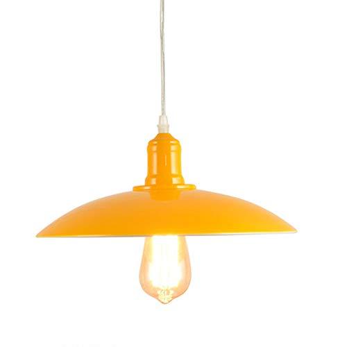 Lampada a sospensione industriale Retro vintage E27 Illuminazione a soffitto Lampadario Edison Base Paralume in metallo Lampada da interno per cucina Camera da letto Sala da pranzo (Giallo)