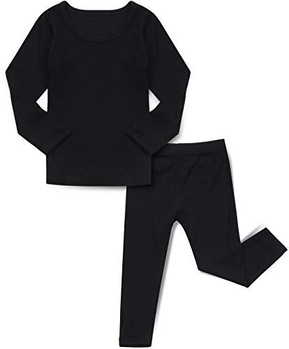 AVAUMA Baby Boy Girl Long Sleeve Ribbed Pajamas Set Snug-Fit Fall Winter Pjs Sleepwear Kids Toddler (Medium/Black(L))