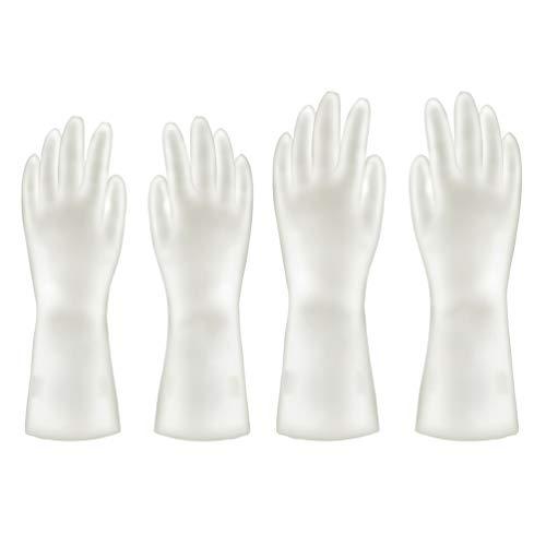 TOPBATHY, 2 pares de guantes de goma, impermeables, guantes de limpieza para lavavajillas, protectores de manos para cocina