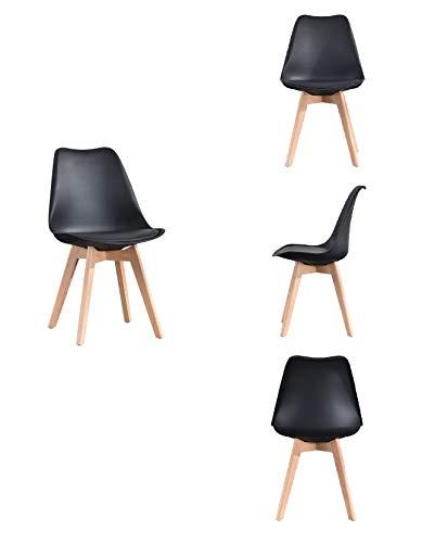 ArtDesign FR - Set di 4 sedie per sala da pranzo moderne, seduta imbottita, gambe in legno di faggio massiccio, schienale ergonomico, per cucina, ristorante, caffè (4 sedie nere)