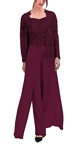 Women's 3 Pieces Chiffon Dress Mother of The Bride Pants Suits with Lace Jacket Wedding Outfit Evening Gown Grape US6