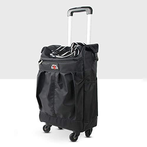 lqgpsx Tragbare, faltbare Einkaufstasche mit Rädern, Einkaufstrolley mit 4 Rädern, mit wasserdichtem, abnehmbarem Einkaufen für Frauen, verstellbarer Griff, strapazierfähig und einfache Lagerung, B