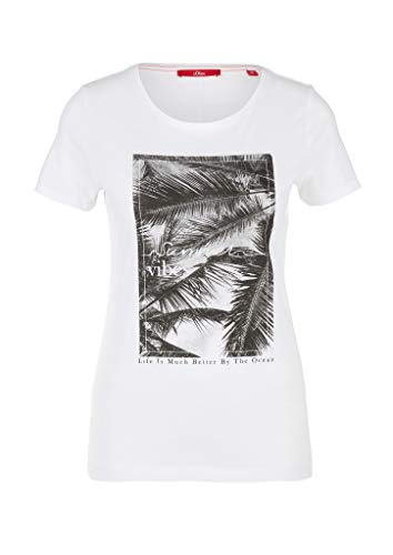 s.Oliver Damen 120.10.005.12.130.2038490 T-Shirt, 01d8 White Placed Print, 40