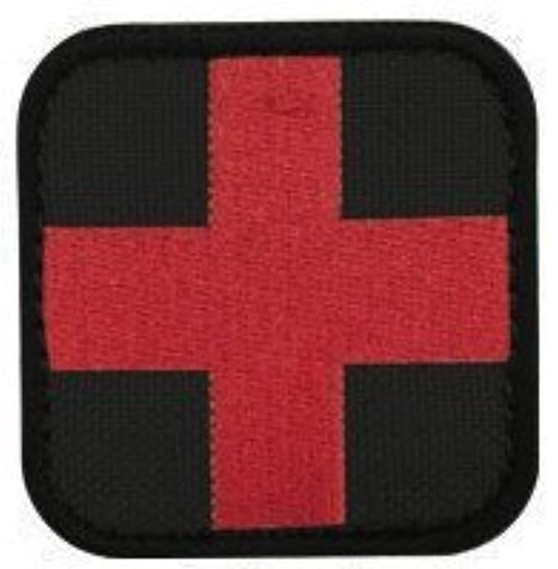 Red Cross Medic Patch -Red on Black