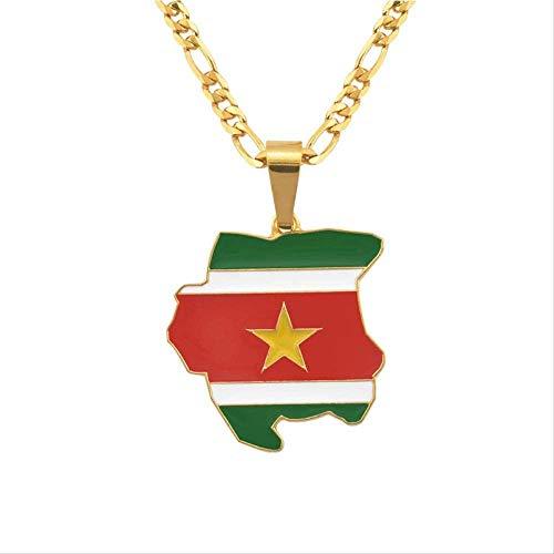 BACKZY MXJP Collar Mapa De Color Dorado De Surinam Flag Charms Collares Pendientes para Mujeres Hombres Regalos De Joyería