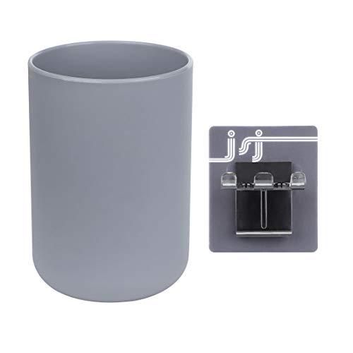 Uxcell Soporte de pared para cepillo de dientes con taza, soporte de pared para cepillo de dientes, juego de almacenamiento para cepillo de dientes para baño, color gris