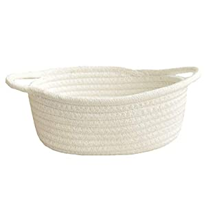 HOSL Cotton Storage Baskets Small Cotton Rope Basket White Woven Basket Organizer for Cloths, Books, Blanket