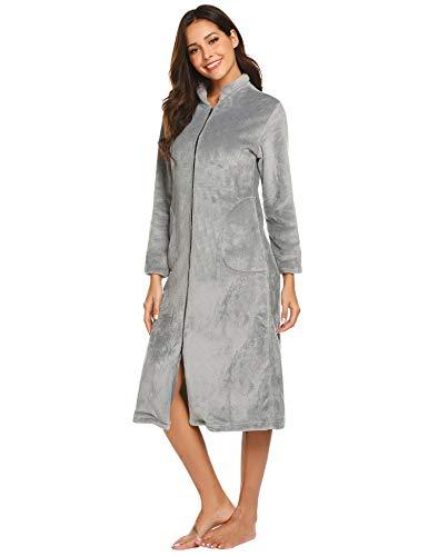 Ekouaer Women's Fleece Robe Long Sleeve Zip Front Bathrobe Grey XX-Large