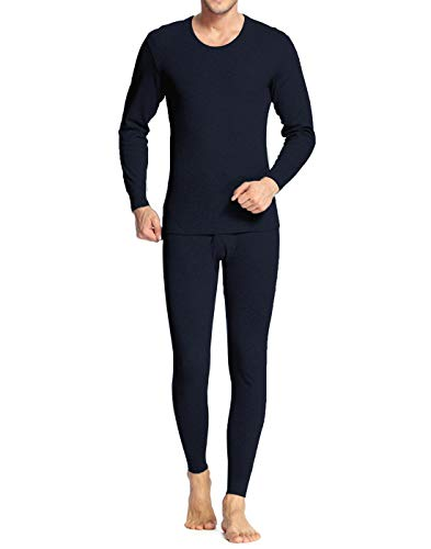 Long Johns for Men Big and Tall Thermal Underwear Insulated Pajamas Black M
