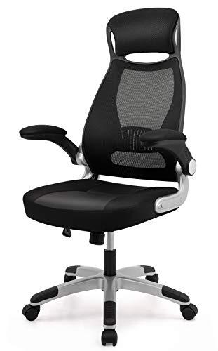 IntimaTe WM Heart Schreibtischstuhl mit Hoher Rückenlehne, Ergonomischer Bürostuhl aus Mesh, Drehstuhl, High Back Chefsessel aus Netzstoff, Netzstuhl mit Kopfstütze und klappbarer Armlehne, schwarz