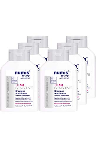 numis med Shampoo Anti-Stress ph 5.5 SENSITIVE - Haarpflege vegan & seifenfrei - Haarshampoo für sensible, feuchtigkeitsarme & zu Allergien neigende Haut im 6er Pack (6x 200 ml)