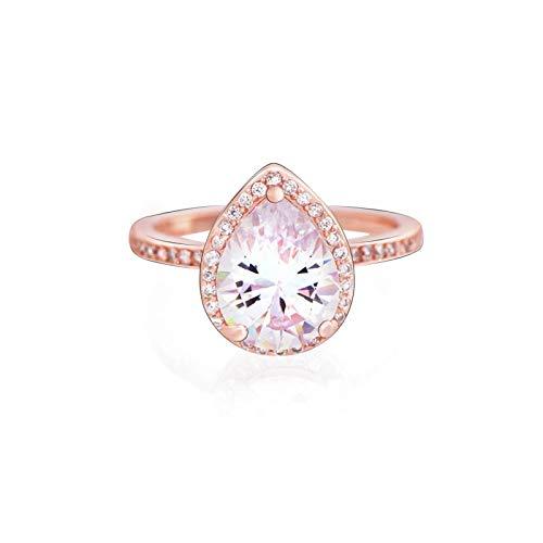 Pandora 925 colgante de plata esterlina DIY auténtico anillo de lágrima radiante anillos transparentes de oro rosa para Wo n joyería de fiesta de aniversario