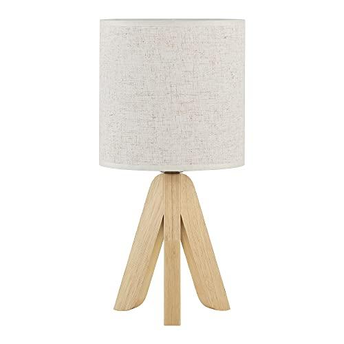 Lámpara de mesa Lámpara de mesa moderna con base de madera y pantalla de lino para mesita de...