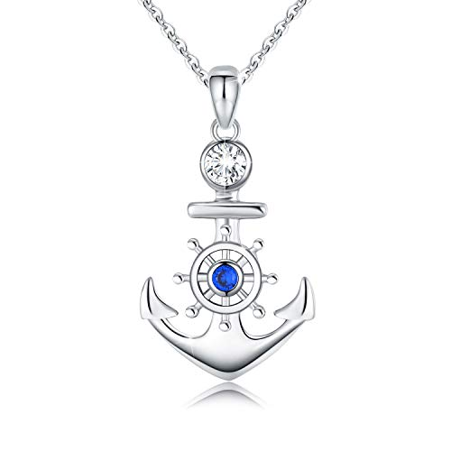 Women Necklace 925 Sterling Silver Anchor and Rudder Pendant Necklace Nautical Jewelry Gifts for Girls Friends