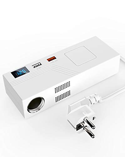 AOLEAD Spannungswandler Wechselrichter KFZ Netzadapter 15A 180W Stromwandler AC 100V/110V-220V/230V/240V auf DC 12V mit USB Hafen und LCD Display