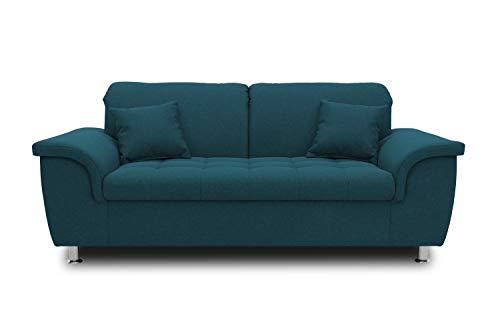 DOMO. collection Franzi Sofa, 2-Sitzer Couch, 2er Garnitur mit Nackenfunktion, Polstergarnitur, türkis, 190x105x81 cm