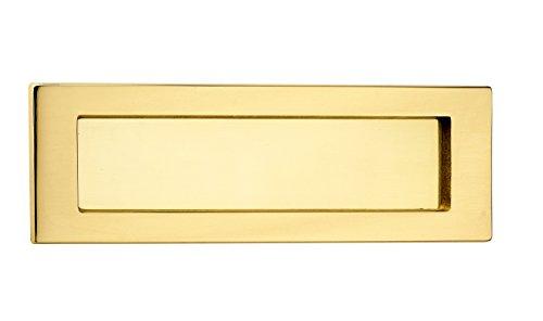 Briefeinwurf-Klappe Antik Zeitungsklappe Messing poliert Postschlitz 5003 für Haustüren & Wohnungseingangstüren | Tür Einwurfklappe aus echt Messing | 280 x 90 mm | 1 Stück - Abdeckung für Außen