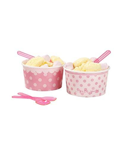 DISOK Pack de 8 Tarrinas para Helado Fiesta Rosa. Packs de 8 tarrinas con 8 cucharas pequeñas de plástico a Juego. Fiestas de Cumpleaños, Comuniones