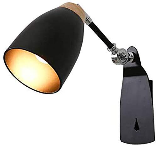 Luces de pared industriales, Modern Wall Spot Interior E27 Lámpara de pared de madera y luz de pared de metal negro con focos de 2-rotativos y giratorios para la habitación de escritura de la habitaci
