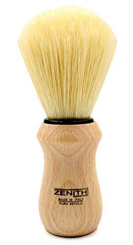 Pennello da Barba Zẹnith Modello New 205 Con Manico In Legno Naturale E Pura Setola Sbiancata