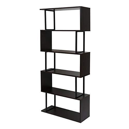 Bücherregal HWC-A27, Standregal Wohnregal, 183x80cm 3D-Struktur 5 Ebenen - Dunkelbraun, Metall schwarz