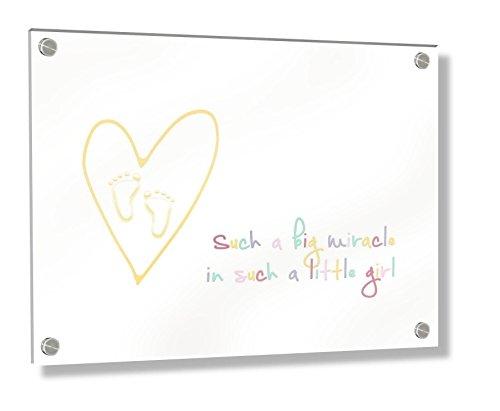 Feel Good Art Mural Cadre en acrylique avec Confrontation Boulons (30 x 20 x 20 x 0,6 cm, petit, multicolore, Such a Big Miracle dans une petite fille/Enfant DÈcor)