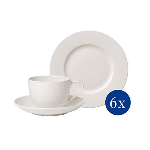 Villeroy & Boch For Me Kaffee Set 18 tlg., Premium Porzellan, spülmaschinengeeignet, weiß